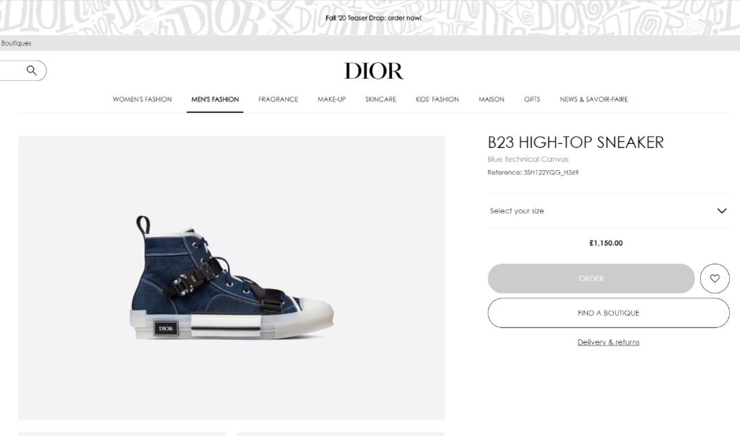 预警:Dior迪奥限定机能B23官方补货发售,附抢购信息!