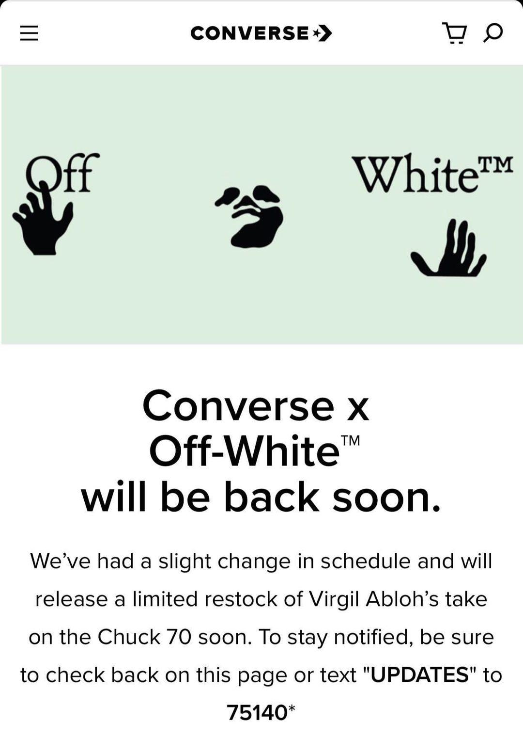 又补货!Off-White x 匡威联名将再度发售,小程序要突袭?