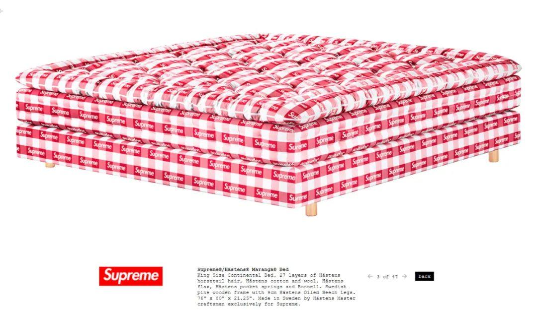 人类高质量必备?Supreme联名大师级床垫曝光,售价逼近10万!